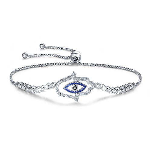 BAMOER 925 Sterling Silver Expandable Lucky Blue Evil Eye Chain Bracelet with Sparkling Cubic Zirconia for Women Girls Style -