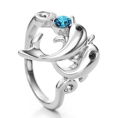 Neoglory #8 Made with Swarovski Elements Rhinestone Fashion Dolphin Rings for Women Men Jewellery step