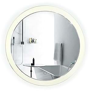 Led Bathroom Round Mirror 22 Inch Diameter Lighted Vanity Mirror Dimmer Defogger