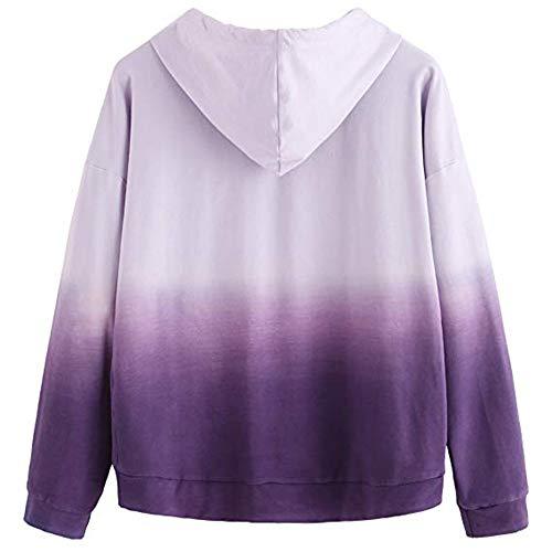Size Plus Camicette con Purple1 Donna con Zodof T Stampa Tops cappuccio Sciolto shirt Pullover Moda lunga Manica inverno cappuccio Felpe Lettera 7OnpS