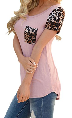 YeeATZ Women's Pink Leopard Print Spliced Women T-shirt - Rock Mall Little Hours