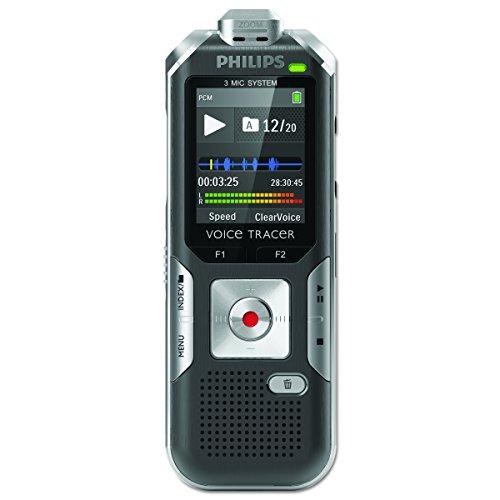 Philips DVT6000 Digitales Diktiergerät mit 3 Mic Auto Zoom+, Bewegungssensor, Metallgehäuse, Micro-USB-Anschluss, 4 GB interner Speicher, Li-Polymer-Akku, MP3, Plug and Play, Win/Mac/Linux, Silber
