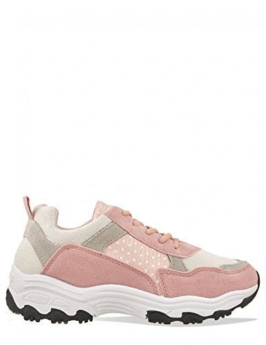 LAMODA Womens Chunky Panel Detail Trainers in Faux Suede Pink