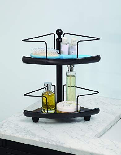 (Home Zone 2-Tier Bathroom Caddy | Adjustable, Shelf, Oil Rubbed Bronze Finish)