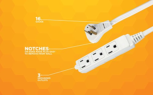 SlimLine 2232 Angled Flat Plug Extension Cord, Space Saving Flat Design, 3 Grounded Outlets, 13-Foot, 13 Amps, 1625 Watts, 125 Volts, UL Listed, I deal For Powering House Hold Appliances, Lamps and Clocks, Neutral White Color