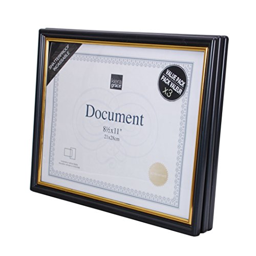 Award Plastic Certificate Frame - Kiera Grace Accent Document Frame with Plexi Sheet, 8.5 by 11 Inch, Black with Gold Trim, Pack of 3