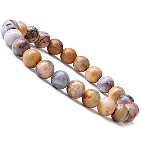 WRCXSTONE Natural 8mm Gorgeous Semi-Precious Gemstones Healing Crystal Stretch Beaded Bracelet Unisex ()