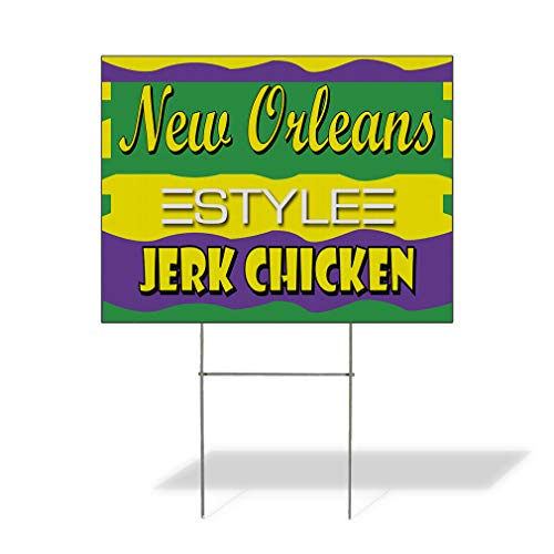 Plastic Weatherproof Yard Sign New Orleans Jerk Chicken Restaurant Cafe Blue New One Side 18inx12in ()