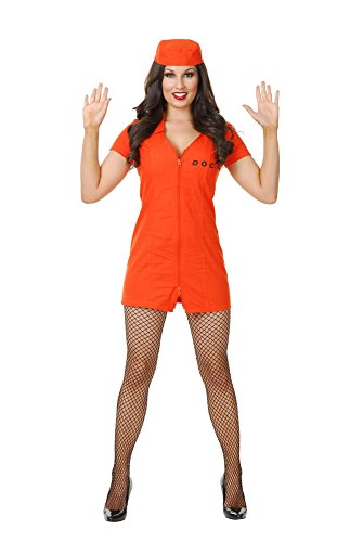 Department Of Correction Costume (Charades Women's Bad Girl Department of Corrections Costume, Orange, Small)