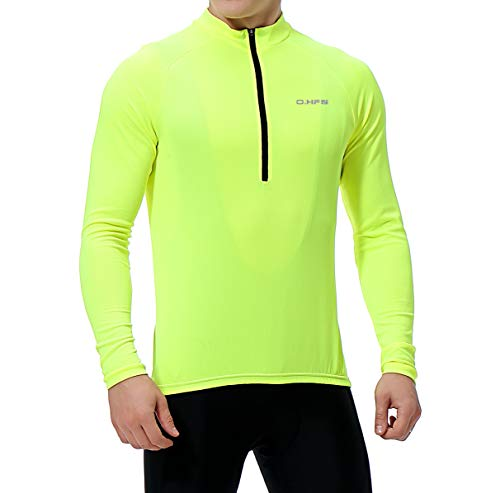 O·HFS Men's Cycling Jersey, Long Sleeve Bicycle Bike Shirt, Reflective & Quick Dry(L, Hi-viz Yellow)