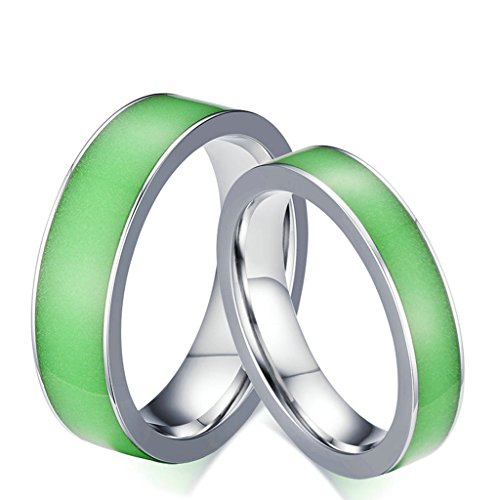 Bishilin 6MM Stainless Steel Rings For Boys Glow In The Dark (Glow In The Dark Eye Contacts)