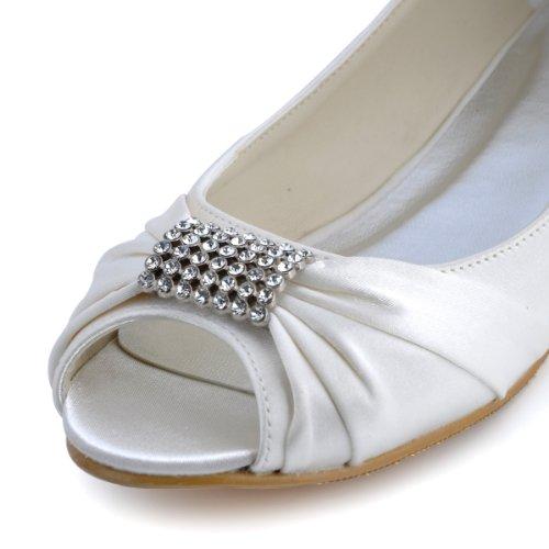 Elegantpark - Bailarinas de satén Mujer Ivory