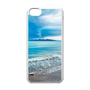 iPhone 5C Case,Turquoise Beach Hard Shell Back Case for White iPhone 5C Okaycosama377685