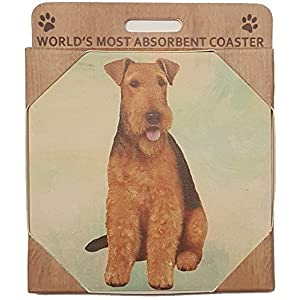 Airedale Terrier Absorbent Stone Coaster - Cork Back helps prevent scratches on furniture - No more Water rings on Furniture (1) 2