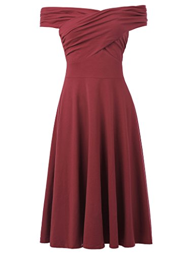 High-Waisted Pleated 50s Pin-Up Cocktail Dress A-Line Size S Dark Red
