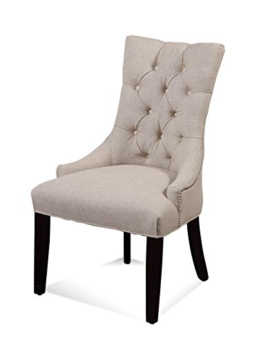 Bassett Mirror Company Fortnum Cream Linen and Wood Tufted Nailhead Parsons Chair by Bassett Mirror Company