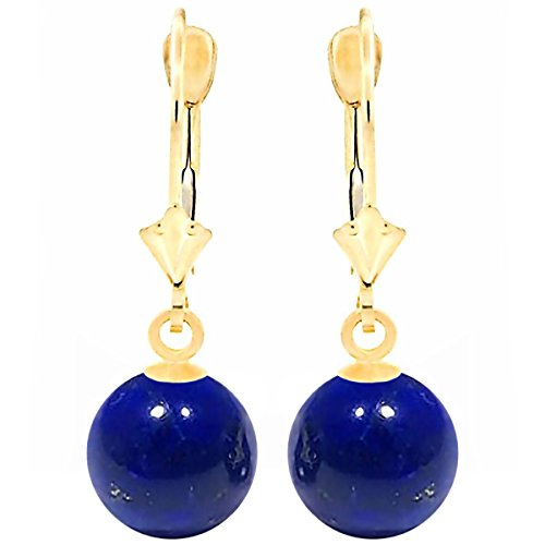 Trustmark 14K Yellow Gold 10mm Natural Lapis Lazuli Ball Leverback Earrings