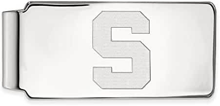 14k White Gold LogoArt Official Licensed Collegiate Michigan State University (MSU) Money Clip