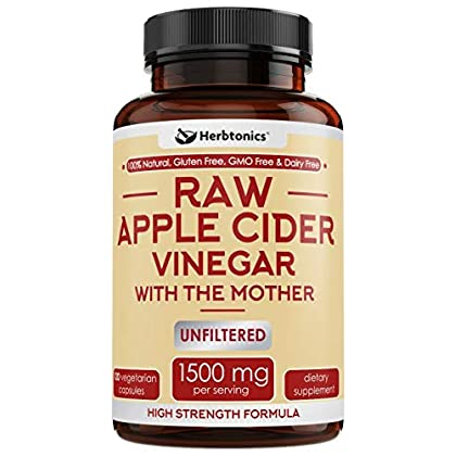 High Strength Raw Apple Cider Vinegar Capsules with Mother 1500mg ACV Diet Pills Detox Support – Acv Capsules Appetite Suppressant Keto Diet for Women Men Fat Burner Weight Loss Supplement