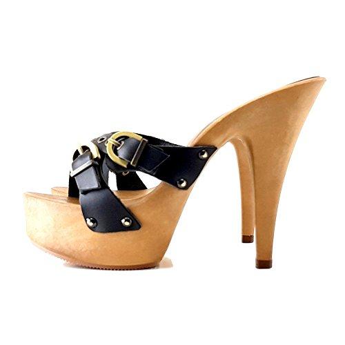 HOLZSCHUHE Fibbie shoes kiara Nero Zoccolo in K9330 Neri con SdXYqd