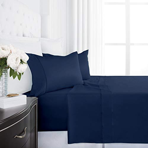Egyptian Luxury 1200 Series Silky Soft Satin 4-Piece Bed Sheet Set - Ultra Smooth Satin Microfiber - Wrinkle and Fade Resistant, Hypoallergenic Sheet and Pillow Case Set - King - Navy