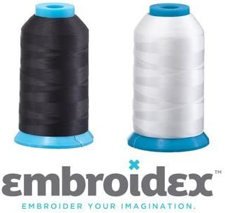 Set of 2 Huge Bobbin Thread for Sewing and Embroidery Machine 1 Black and 1 White 5500 Yards Each - Polyester - Embroidex 41tF07spDuL