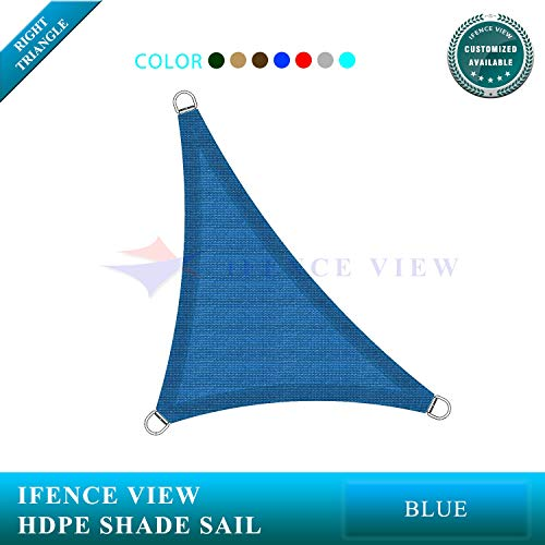 Ifenceview Right Triangle UV Sun Shade Sail for Patio Yard Driveway Canopy Awning Outdoor Facility 5 x5 x7 , Blue