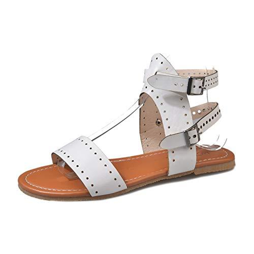 Beach Sandals Fashion Ladies Woman Shoes Summer Gladiator Roman Shoes Flat Thong Sandals Footwear White -