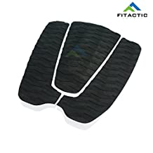 FITACTIC Universal 3-Piece Diamond Grooved Stomp Traction Pad Grip Mat with Tail Kick for Surfboards, Shortboards, Longboards, Skim boards and more