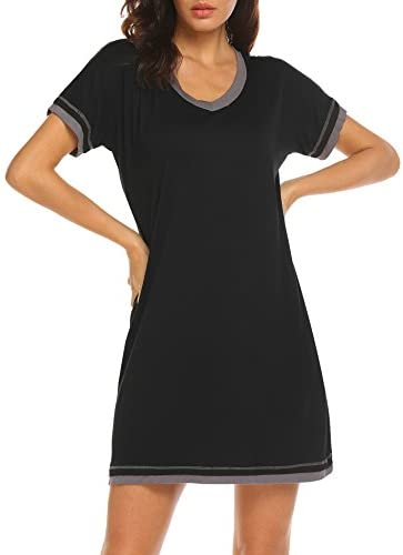 Ekouaer Sleepwear Women's V Neck Nightshirt Cotton Casual Sleepwear Short Sleeve Nightgown S-XXL