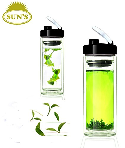 (Sun's Tea (Tm) 18oz Ultra Clear Spill-proof Strong Double-wall 3-Piece Borrosilicate Glass Tea Tumbler with Strainer (drinkhole lid))