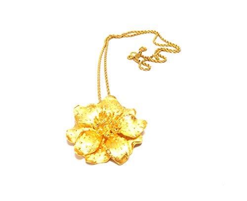 HamptonGems KENNETH JAY LANE-VINTAGE-SATIN GOLD FLOWER PENDANT NECKLACE-LAST ONE!! (Lane Jay Vintage Kenneth)