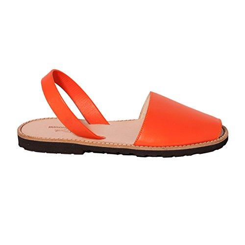 Avarca Minorquines-Sandalias de piel para mujer, color Naranja Naranja - naranja
