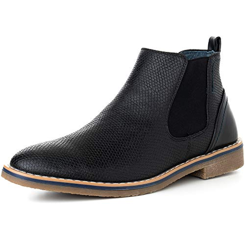 alpine swiss Mens Nash Chelsea Boots Snakeskin Ankle Boot Genuine Leather Lined BLK 12 M -