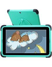 Kids Tablet,7 tums barnplatta, barnplatta med 32 GB ROM, IPS HD-skärm Quad-Core Android 10 WIFI, inlärningstabletter med barnsäker fodralhållare, grön