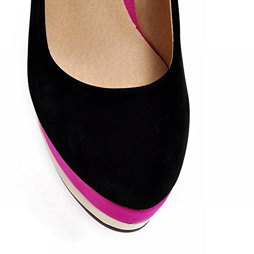 Mee Shoes Damen high heeld Nubuck Plateau Pumps Rosarot