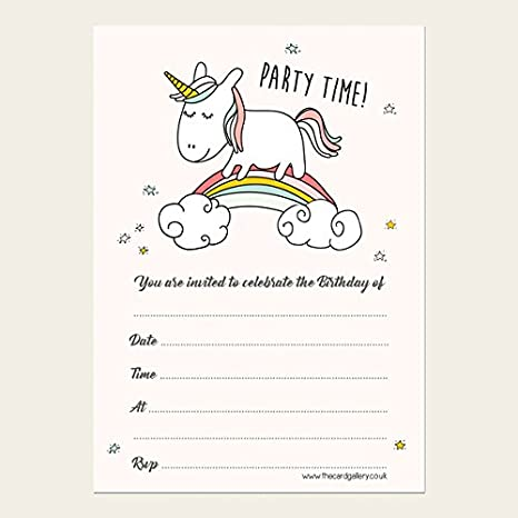 Invitaciones de cumpleaños para niños, unicornio arcoíris ...