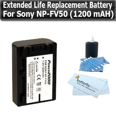 Extended Life Replacement (1200 mAH) Battery For Sony NP-FV50 DCR-SX44 DCR-SX63 DCR-SX83 DCR-SR68 DCR-SR88 SONY HDR-CX110 HDR-CX150 HDR-CX300 HDR-CX350 HDR-CX500V HDR-CX550V HDR-XR150v HDR-XR350V HDR-XR550V Camcorders + Lens Cleaning Kit ButterflyPhoto