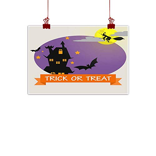 Mannwarehouse Wall Art Decor Poster Painting Halloween Background with Lovely Costumes Decorations Home Decor 20