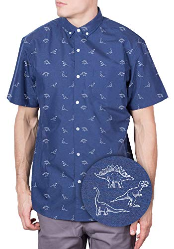 Big and Tall Hawaiian Shirt for Men Shark Button Down Shirts Short Sleeve Navy Dino 4XL]()