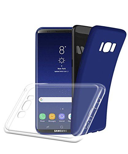 Price comparison product image Galaxy S8 case,  Aistely 2-Pack [Blus&Clear] Full-body Slim fit Soft TPU Rubber Cover with Anit-slip Coating Protective Case for Samsung Galaxy S8