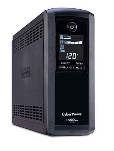 CyberPower CP1350AVRLCD Intelligent LCD UPS System, 1350VA/815W, 10 Outlets, AVR, Mini-Tower (Renewed)