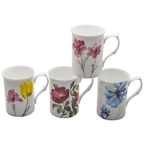 Gracie Bone China Watercolors 9-Ounce Mug, Set of 4