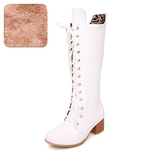 HAOLIEQUAN Größe 31-43 Frau Kniehohe Stiefel Mode Nieten Winter Schuhe Schuhe Schuhe Frauen Kreuz Strap Round Toe High Heels Stiefel 629391
