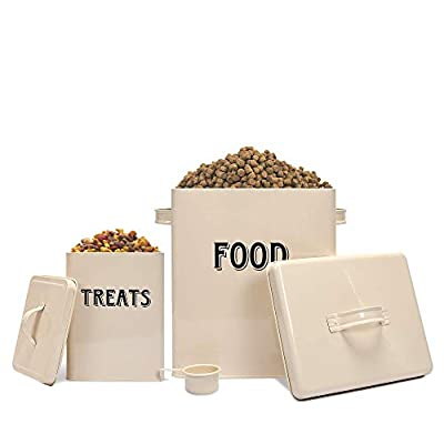 Pet Food and Treats Containers Set with Scoop for Cats or Dogs by Silky Road - Vintage Cream Powder-Coated Carbon Steel - Tight Fitting Lids - Storage Canister Tins from Silky Road Products
