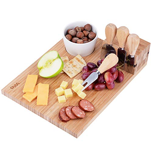 Vina Cheese Cutting Board Knife Set - Includes 4 Piece Cheese Knives and Porcelain Dish, Bamboo Cheese Cutlery Serving Tray, Great as Party Platter for Cheese Lovers