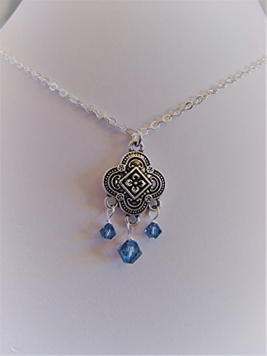 Mixed Metals Vintage Style Necklace with Swarovski Crystals in Denim Blue Artisan Jewelry Adjustabe