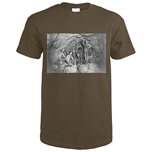 3038 Chocolate (Coeur d'Alene, Idaho - Chance Mine Lead Mining - Vintage Photograph (Dark Chocolate T-Shirt XX-Large))