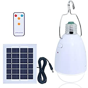 Solar Bulb, LISOPO Muti-functional LED Lamp Kits - 12 LED Solar Powered Lights Dimmable Function with Remote Controller -Solar Barn / Camping / Emergency etc