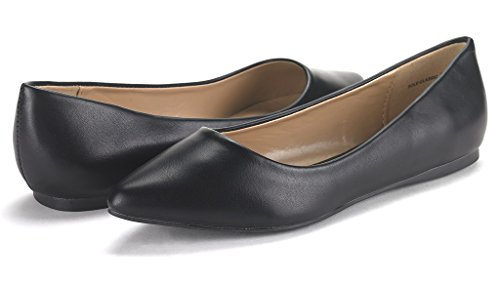 Pointed Slip SOLE Pu DREAM Casual FANCY Soft Ballet Shoes CLASSIC Toe PAIRS Comfort On Black Flats Women's qPUHSHxY